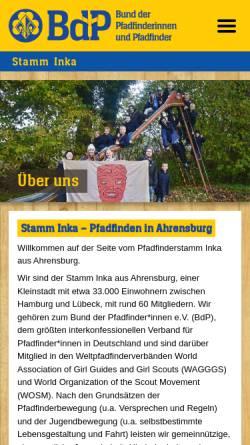 Vorschau der mobilen Webseite www.stamminka.de, BdP Stamm Inka, Ahrensburg