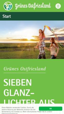 Vorschau der mobilen Webseite www.gruenes-ostfriesland.de, Grünes Ostfriesland - Verkehrsverein Aurich/Ostfriesland e. V.