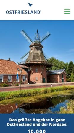 Vorschau der mobilen Webseite www.ostfriesland.de, Ostfriesland.de - Ostfriesland Tourismus GmbH