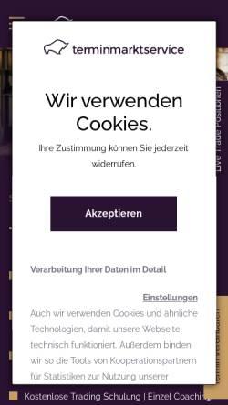 Vorschau der mobilen Webseite www.terminmarktservice.de, Thomas Krause, Handelsempfehlungen & Coaching