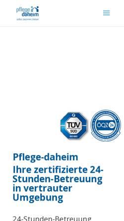Vorschau der mobilen Webseite www.pflege-daheim.at, Pflege-Daheim.at GmbH