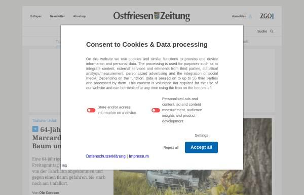 Vorschau von www.oz-online.de, Ostfriesen Zeitung - ZGO Zeitungsgruppe Ostfriesland GmbH