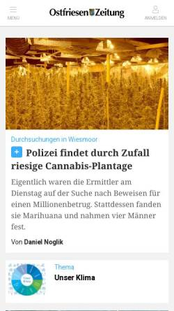 Vorschau der mobilen Webseite www.oz-online.de, Ostfriesen Zeitung - ZGO Zeitungsgruppe Ostfriesland GmbH