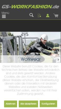 Vorschau der mobilen Webseite gs-workfashion.de, GS Workfashion