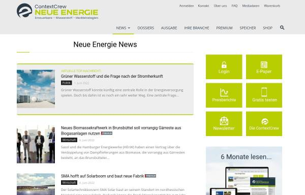 Vorschau von www.euwid-energie.de, EUWID Neue Energien