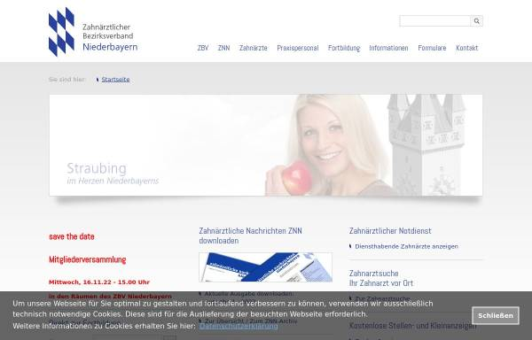 Vorschau von www.zbv-niederbayern.de, Zahnärztlicher Bezirksverband Niederbayern