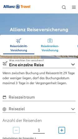 Vorschau der mobilen Webseite www.allianz-assistance.de, Allianz Global Assistance - AGA International S.A. Deutschland