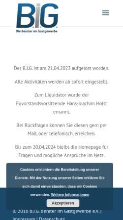 Vorschau der mobilen Webseite berater-im-gastgewerbe.de, Berater im Gastgewerbe B.I.G. e.V.