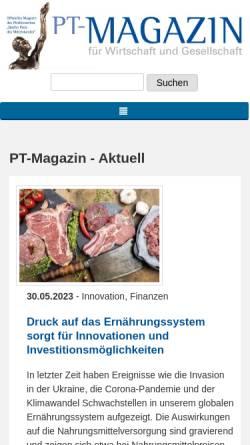 Vorschau der mobilen Webseite www.pt-magazin.de, P.T. Magazin