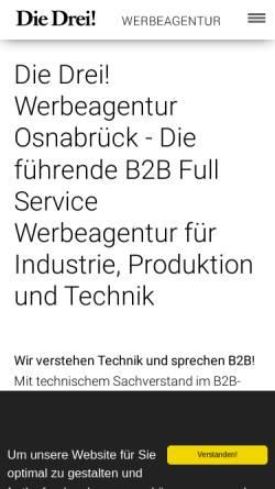 Vorschau der mobilen Webseite www.diedrei.com, Die Drei! Werbeagentur GmbH & Co. KG