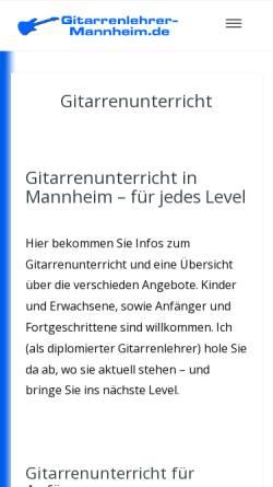 Vorschau der mobilen Webseite www.gitarrenlehrer-mannheim.de, Gitarrenlehrer Helmut Scholz