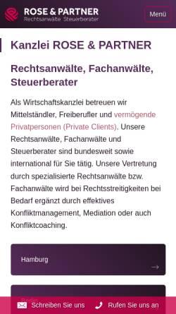 Vorschau der mobilen Webseite www.rosepartner.de, ROSE & PARTNER
