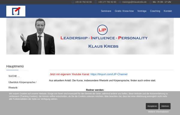 Vorschau von www.körpersprache.biz, Klaus Krebs: Rhetorik- und Körpersprache-Seminar mit Coaching