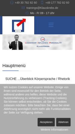 Vorschau der mobilen Webseite www.körpersprache.biz, Klaus Krebs: Rhetorik- und Körpersprache-Seminar mit Coaching