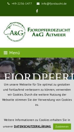 Vorschau der mobilen Webseite www.fjordzucht.de, Fjordpferdezucht Altmeier und Grafschmidt