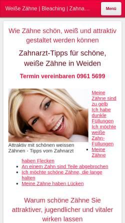 Vorschau der mobilen Webseite www.schoene-weisse-zaehne-weiden.de, Zahnarztpraxis Dr. Rauch in Weiden in der Oberpfalz