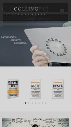 Vorschau der mobilen Webseite www.kanzlei-colling.de, COLLING Steuerkanzlei