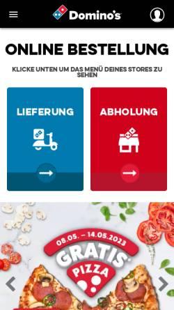 Vorschau der mobilen Webseite www.dominos.de, Domino's Pizza