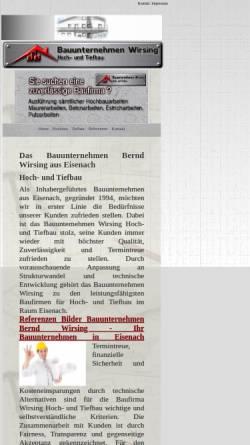 Vorschau der mobilen Webseite www.bau-eisenach.de, Bauunternehmen Wirsing