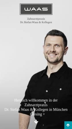 Vorschau der mobilen Webseite www.zahnarzt-waas.de, Zahnarztpraxis Dr. Stefan Waas & Kollegen