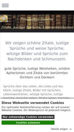 Vorschau der mobilen Webseite www.freidenker-galerie.de, Freidenker Galerie - Humor und Satire - Kunst und Philosophie