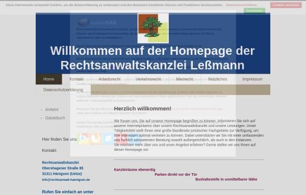 Vorschau von www.rechtsanwalt-haenigsen.de, Rechtsanwaltskanzlei Leßmann