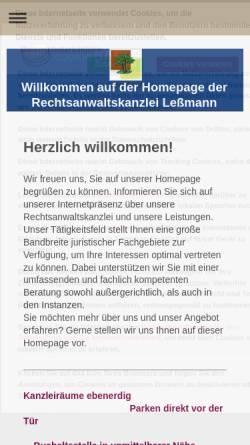 Vorschau der mobilen Webseite www.rechtsanwalt-haenigsen.de, Rechtsanwaltskanzlei Leßmann