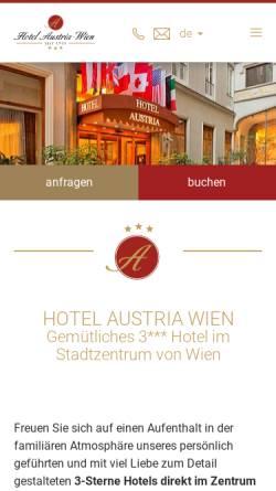 Vorschau der mobilen Webseite www.hotelaustria-wien.at, Hotel Austria - das Hotel im Zentrum von Wien