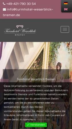 Vorschau der mobilen Webseite www.turmhotel-weserblick-bremen.de, Turmhotel Weserblick Bremen