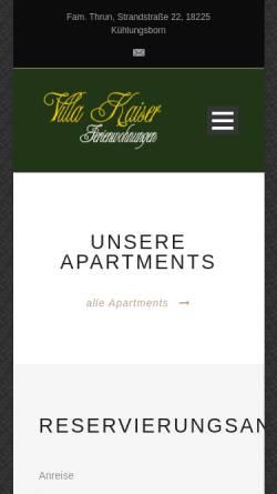 Vorschau der mobilen Webseite villakaiser.de, Villa Kaiser