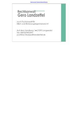 Vorschau der mobilen Webseite www.rechtsanwalt-landzettel.de, Rechtsanwalt Gero Landzettel, Fachanwalt für Miet- und Wohnungseigentumsrecht