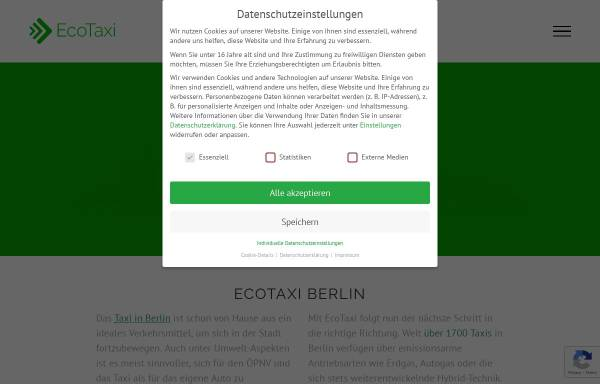 Vorschau von www.ecotaxi.de, Eco-Taxi, TAXI PAY GmbH
