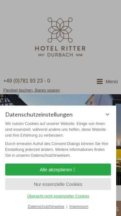 Vorschau der mobilen Webseite www.ritter-durbach.de, 4* Wellness-Hotel Ritter im Schwarzwald