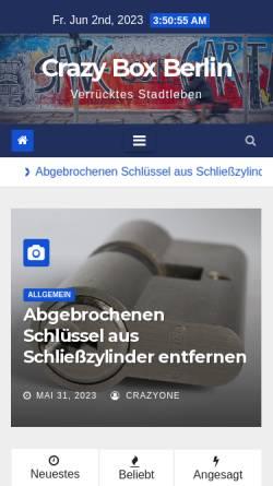 Vorschau der mobilen Webseite www.crazy-box-berlin.de, Crazy Box Berlin