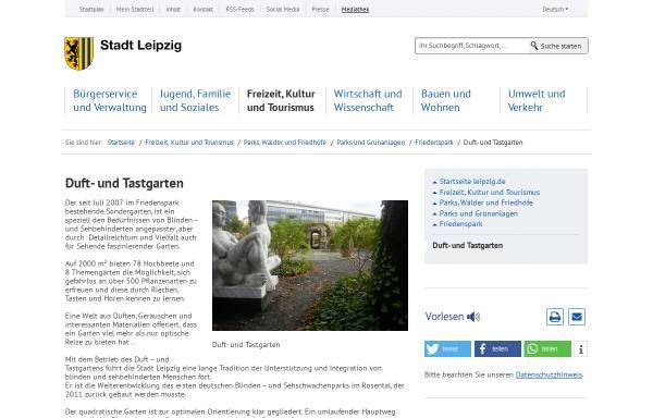Vorschau von www.dut-leipzig.de, Duft- und Tastgarten Leipzig