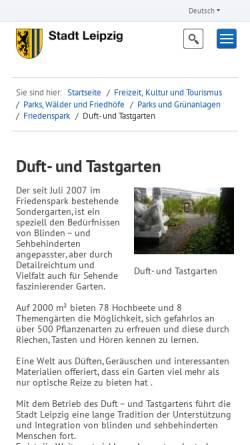 Vorschau der mobilen Webseite www.dut-leipzig.de, Duft- und Tastgarten Leipzig