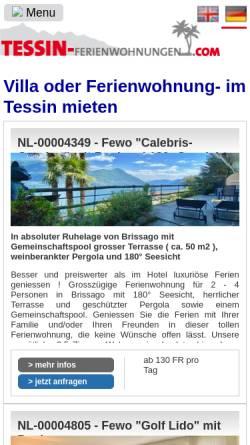 Vorschau der mobilen Webseite www.tessin-ferienwohnungen.com, Tessin-Ferienwohnungen