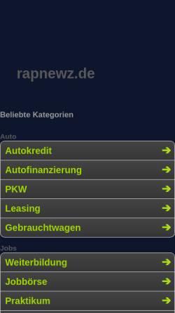 Vorschau der mobilen Webseite www.rapnewz.de, Rapnewz