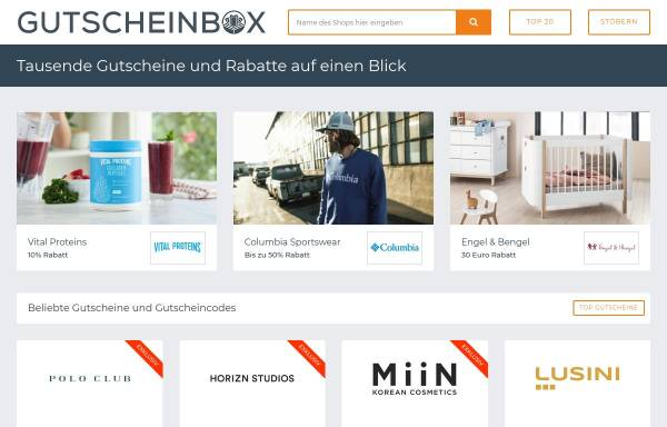 Vorschau von www.gutscheinbox.de, Gutscheinbox, vatago.de GmbH