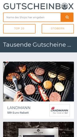 Vorschau der mobilen Webseite www.gutscheinbox.de, Gutscheinbox, vatago.de GmbH