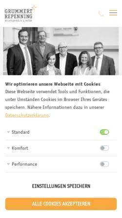 Vorschau der mobilen Webseite www.grummert-repenning.de, Kanzlei Grummert + Repenning