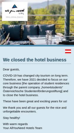 Vorschau der mobilen Webseite www.allyouneedhotels.at, AllYouNeed Hotels