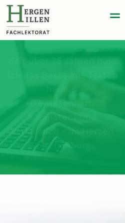 Vorschau der mobilen Webseite www.fachlektorat-hamburg.de, Hergen Hillen Fachlektorat für Wissenschaft & Wirtschaft