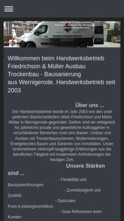 Vorschau der mobilen Webseite www.fm-ausbau.de, F & M Ausbau Friedrichson & Müller