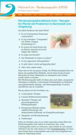 Vorschau der mobilen Webseite www.fuhr-pferdeosteopathie.de, Pferdeosteopathin EPOS Melanie Fuhr aus Darmstadt