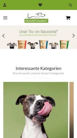 Vorschau der mobilen Webseite www.hundefreuden.de, HundeFreuden - Qualität für Spürnasen!