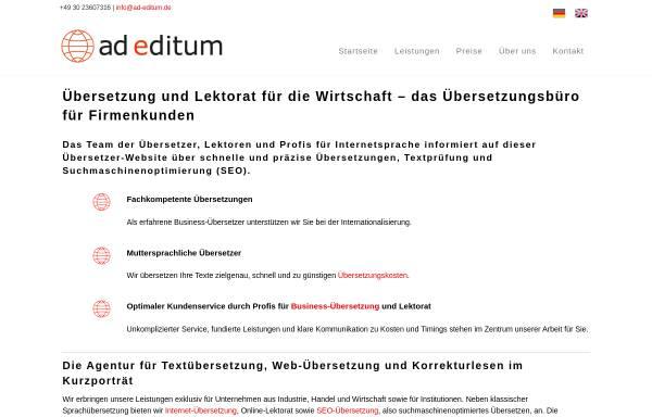 Vorschau von www.ad-editum.de, ad editum - Übersetzung. Lektorat. Sprachdesign.