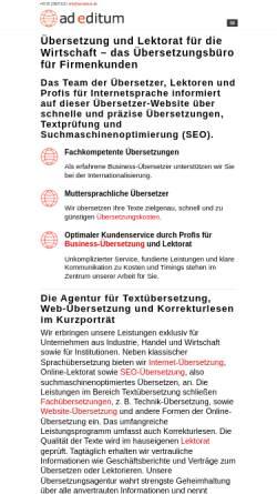 Vorschau der mobilen Webseite www.ad-editum.de, ad editum - Übersetzung. Lektorat. Sprachdesign.