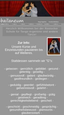 Vorschau der mobilen Webseite www.bailaneum.de, Tanzschule Bailaneum