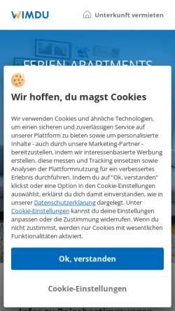 Vorschau der mobilen Webseite www.wimdu.de, Wimdu GmbH